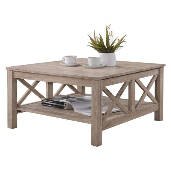Oakland Living Coffee Table - 32-in x 18-in - Brown and Grey Wood