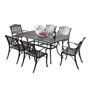 Oakland Living Traditional Outdoor Dining Set - 64-in Rectangular Table - Set of 7