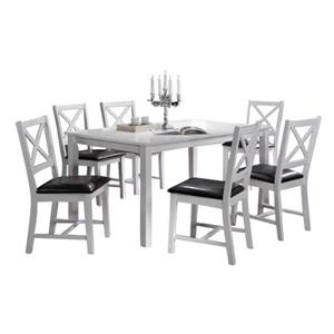Oakland Living Dining Set - White and Black - Set of 7