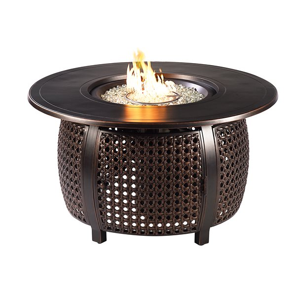 Oakland Living Round Propane Fire Table with Wind Guard - 44-in - 55,000 BTU - Black