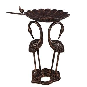 Oakland Living Birdbath - 22-in x 16-in x 32-in - Bronze and Black Cast Aluminum