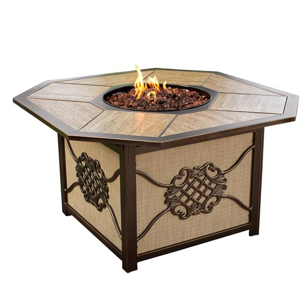 Oakland Living Octogonal Fire Table - 43-in x 24-in - 40,000 BTU - Antique Bronze