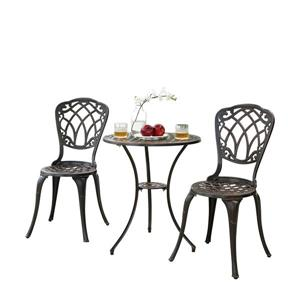 Oakland Living Traditional Bistro Set - Black Aluminum - Set of 3