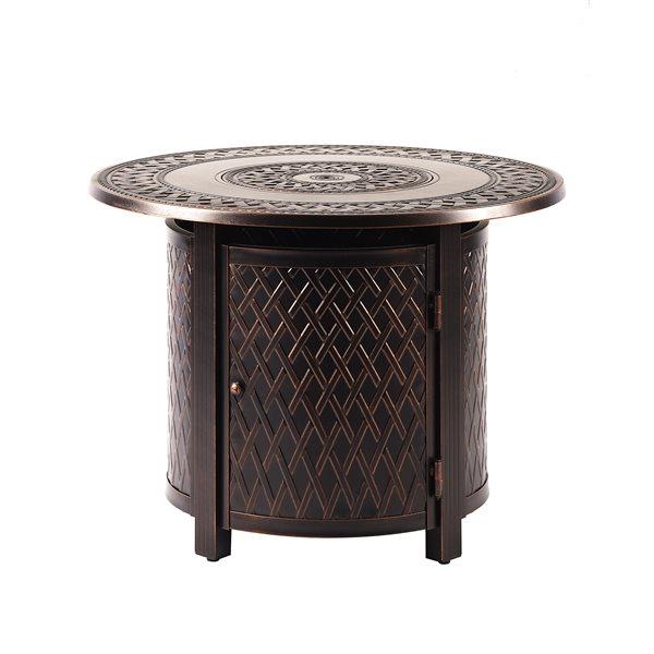 Oakland Living Round Propane Fire Table - 34-in x 24.5-in - 25,000 BTU - Antique Copper