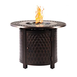 Oakland Living Round Propane Fire Table - 34-in x 24.5-in - 25,000 BTU - Antique Copper