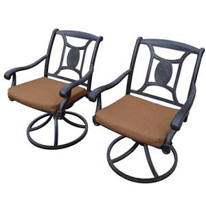 Oakland Living Victoria Swivel Patio Chair - Sunbrella Cushions - Set of 2