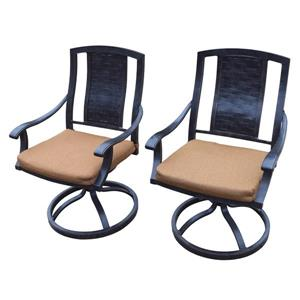 Oakland Living Vanguard Rocking Patio Chair - Bronze and Beige - Set of 2
