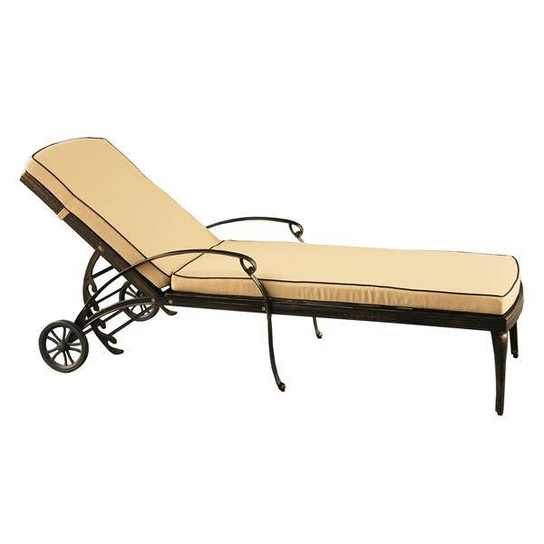 Oakland Living Outdoor Chaise Lounge - 29-in x 22-in - Bronze and Beige