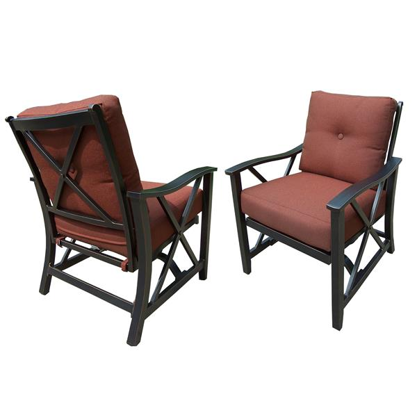Oakland Living Patio Chair - 36-in x 29.5-in - Bronze and Brown - Set of 2