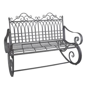 Oakland Living Outdoor Rocking Bench - Iron and Steel - Antique Grey