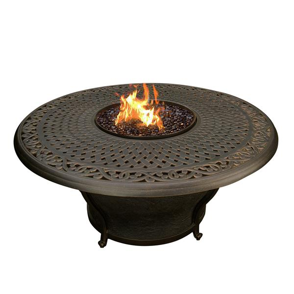 Oakland Living Charleston Fire Table - 48-in x 24-in - 40,000 BTU - Antique Bronze