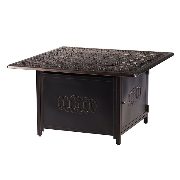 Oakland Living Square Propane Fire Table With Wind Guard 42 In 55 000 Btu Antique Copper Ronin Fpt Ac Rona