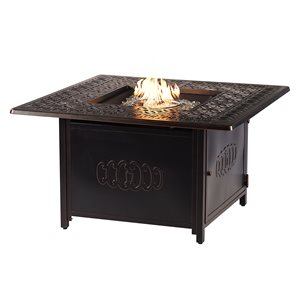 Oakland Living Square Propane Fire Table with Wind Guard - 42-in - 55,000 BTU - Antique Copper