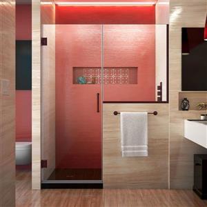 Porte de douche sans cadre Unidoor Plus de DreamLine, 64 po x 72 po, bronze huilé