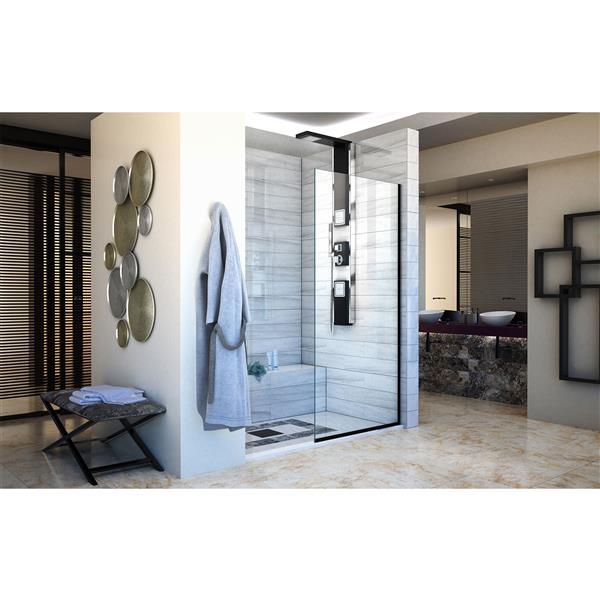 DreamLine Linea Alcove Shower Door - Clear Glass - 34-in - Satin Black