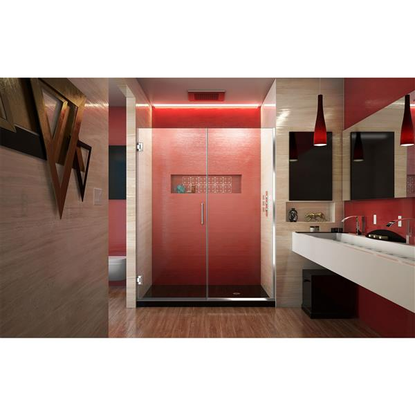 DreamLine Unidoor Plus Shower Door - Alcove Installation - 55.5-in - Chrome