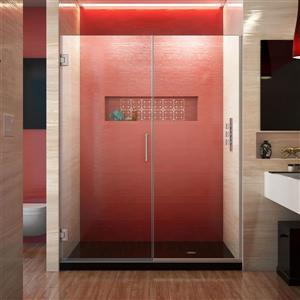 Porte de douche sans cadre Unidoor Plus de DreamLine, 59.5 po x 72 po, nickel brossé