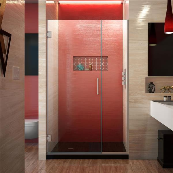DreamLine Unidoor Plus Shower Door - Alcove Installation - 37-in - Brushed Nickel