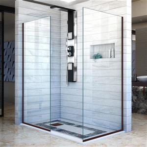 Porte de douche sans cadre Linea de DreamLine, 30 po x 72 po, bronze huilé