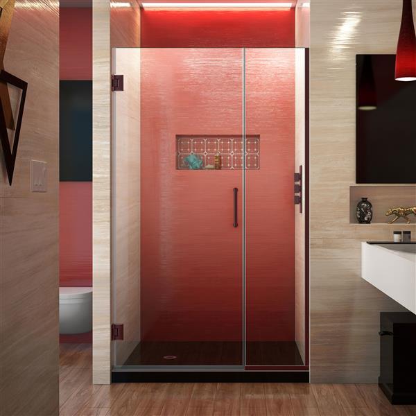 DreamLine Unidoor Plus Shower Door - Alcove Installation - 37.5-in - Oil Rubbed Bronze