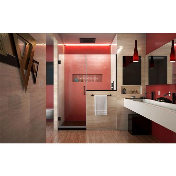 DreamLine Unidoor Plus Alcove Shower Door - Clear Glass - 58-in - Satin Black