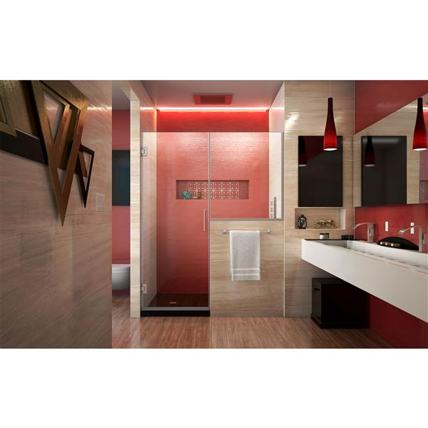 DreamLine Unidoor Plus Alcove Shower Door - Clear Glass - 60-in - Brushed Nickel