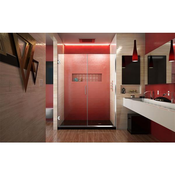 Porte de douche sans cadre Unidoor Plus de DreamLine, 60.5 po x 72 po, chrome