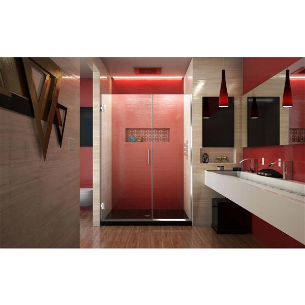 Porte de douche sans cadre Unidoor Plus de DreamLine, 47.5 po x 72 po, chrome
