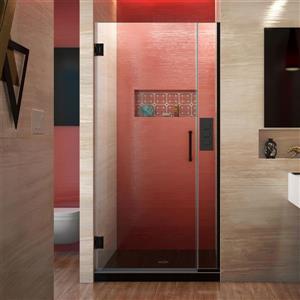 Porte de douche sans cadre Unidoor Plus de DreamLine, 33.5 po x 72 po, noir satiné