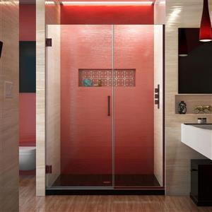 Porte de douche sans cadre Unidoor Plus de DreamLine, 45.5 po x 72 po, bronze huilé