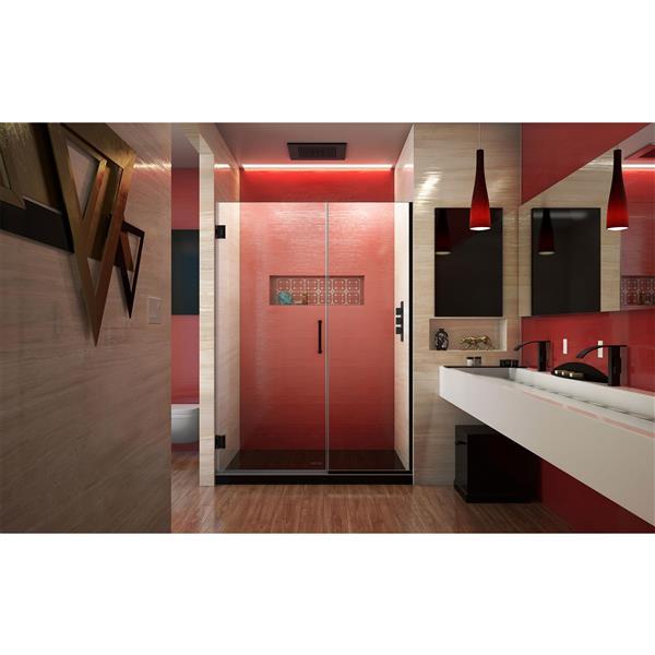 Porte de douche sans cadre Unidoor Plus de DreamLine, 52 po x 72 po, noir satiné