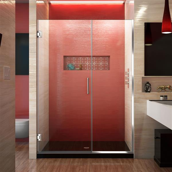 DreamLine Unidoor Plus Shower Door - Clear Glass - 47-in - Chrome