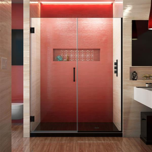 Porte de douche sans cadre Unidoor Plus de DreamLine, 53.5 po x 72 po, noir satiné
