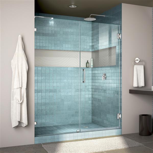 Porte de douche sans cadre Unidoor Lux de DreamLine, 60 po x 72 po, chrome