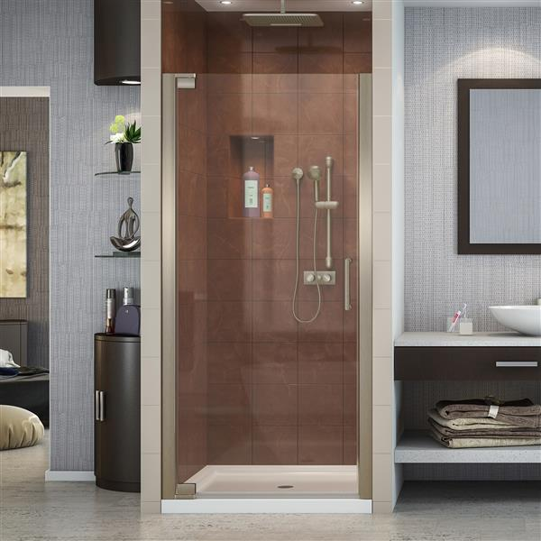 DreamLine Elegance Shower Door - Alcove Installation - 25.25-in - Brushed Nickel