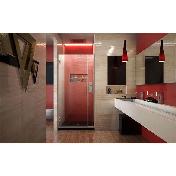 Porte de douche sans cadre Unidoor Plus de DreamLine, 32.5 po x 72 po, nickel brossé
