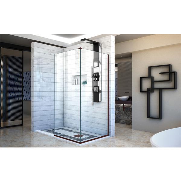 DreamLine Linea Alcove Shower Door - Clear Glass - 30-in - Oil Rubbed Bronze
