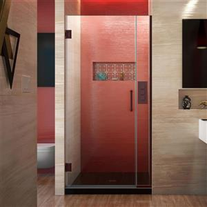 Porte de douche sans cadre Unidoor Plus de DreamLine, 32 po x 72 po, bronze huilé