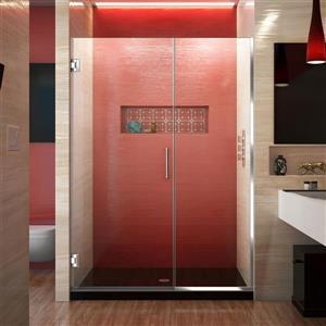 Porte de douche sans cadre Unidoor Plus de DreamLine, 49.5 po x 72 po, chrome