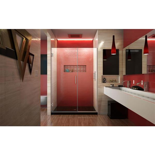 DreamLine Unidoor Plus Shower Door - Alcove Installation - 50.5-in - Brushed Nickel