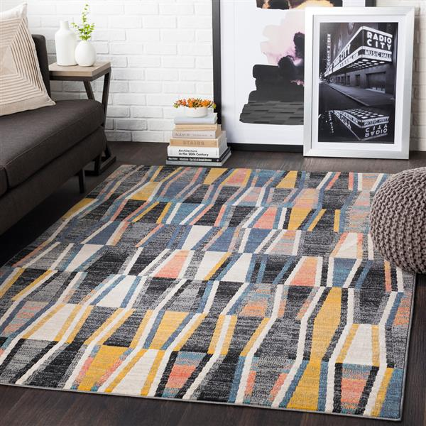 Surya City Modern Area Rug - 7-ft 10-in x 10-ft 3-in - Rectangular - Black