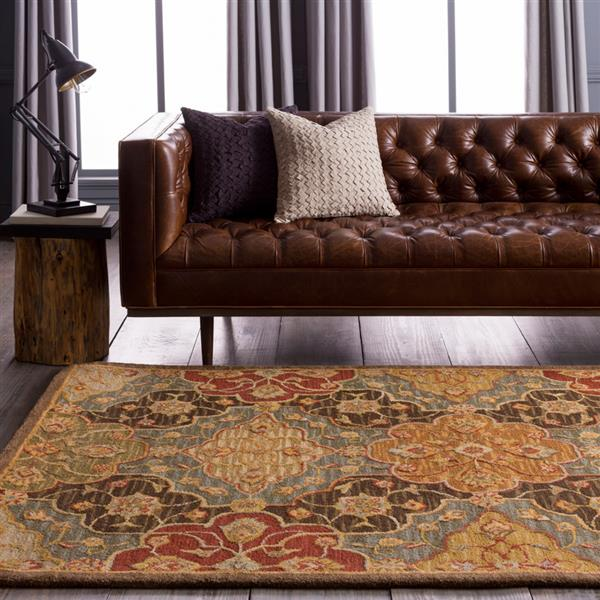 Surya Carrington Traditional Area Rug - 3-ft 3-in x 5-ft 3-in - Rectangular - Dark Brown