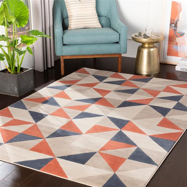 Surya City Modern Area Rug - 7-ft 10-in x 10-ft 3-in - Rectangular - Coral