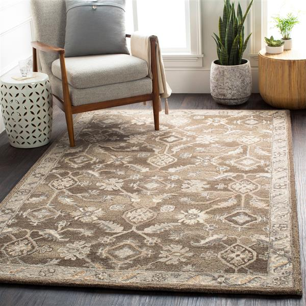 Surya Caesar Traditional Area Rug - 9-ft 9-in - Round - Dark Brown