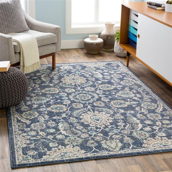 Surya City Updated Traditional Area Rug - 7-ft 10-in x 10-ft 3-in - Rectangular - Navy