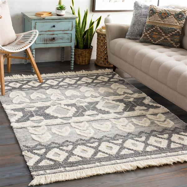 Surya Cheyenne Bohemian Area Rug - 8-ft x 10-ft - Rectangular - Charcoal