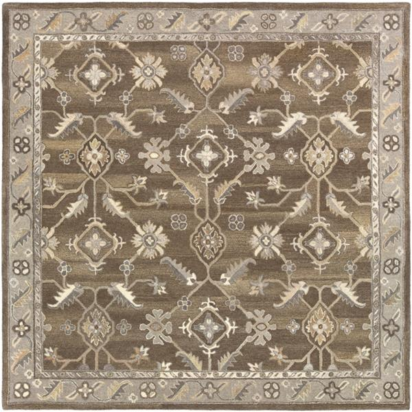 Surya Caesar Traditional Area Rug - 4-ft - Square - Dark Brown