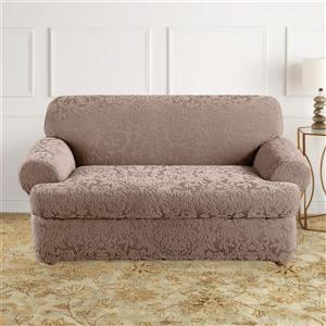 Sure Fit Jacquard Damask Loveseat Cover - 73-in x 37-in - Mushroom
