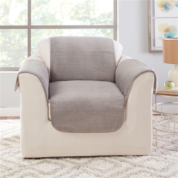 Sure Fit Elegant Pick Stitch Armchair Cover - 48-in x 37-in - Silver