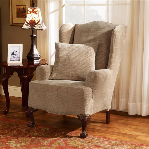 Sure Fit Royal Diamond Wing Chair Cover - 29-in x 42-in - Cream